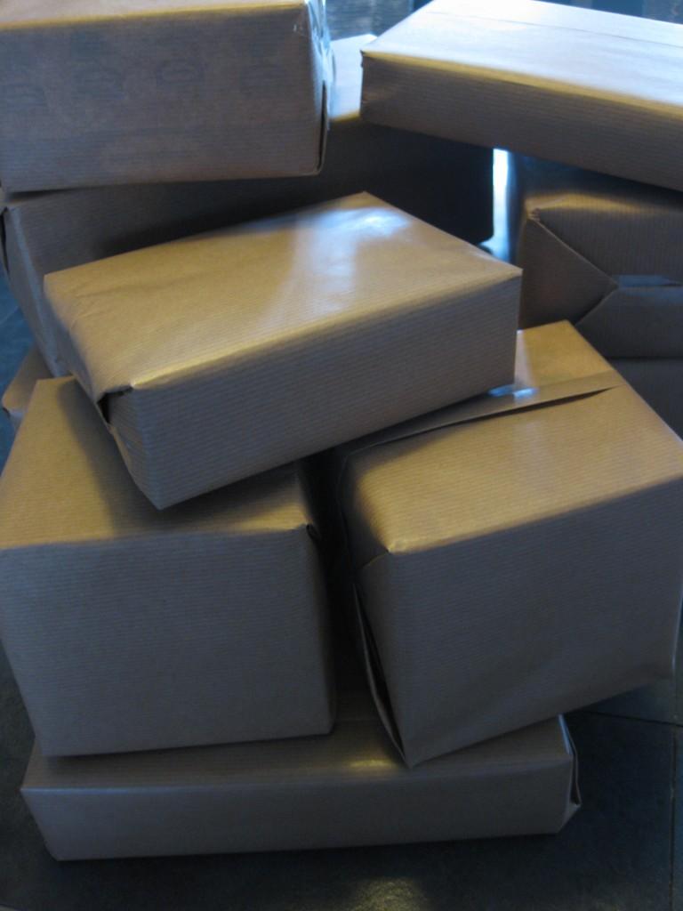 Vitrine de Noël-Paquet cadeaux Kraft